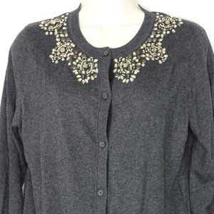 Ann Taylor Loft Cardigan Sweater Jeweled Button Up